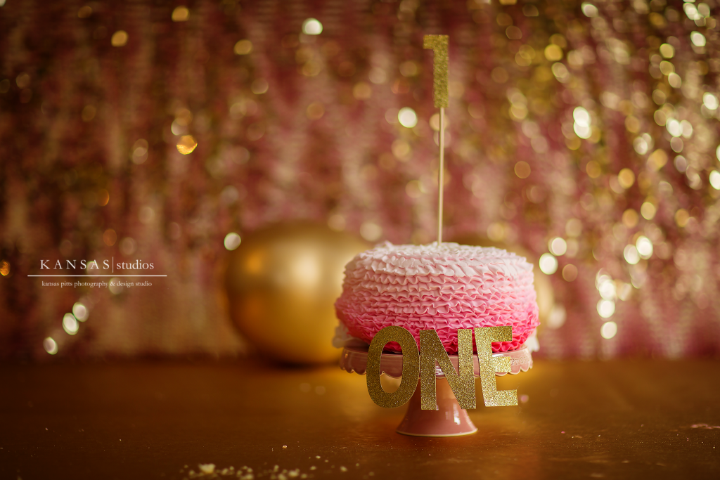 Ombre pink and Gold Cake Smash Kansas Pitts