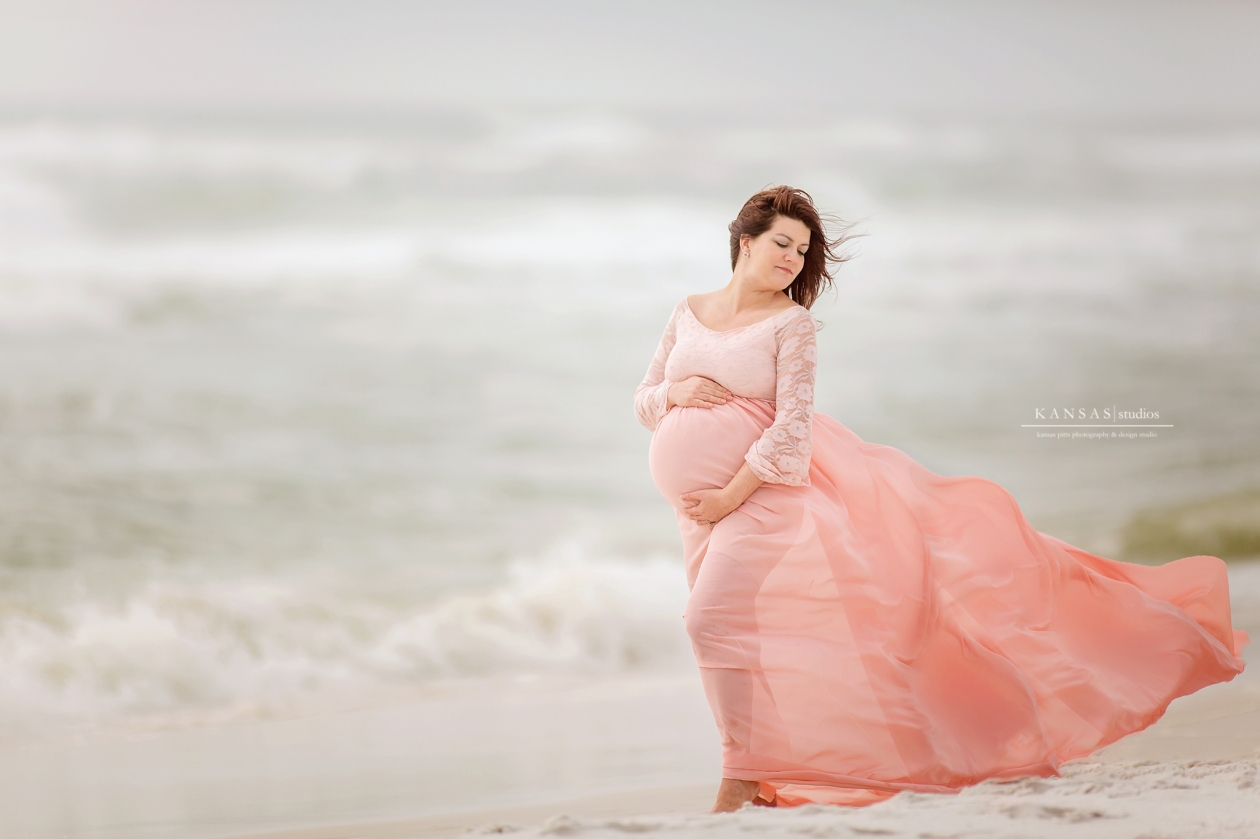 Pink Peach Maternity Beach Session