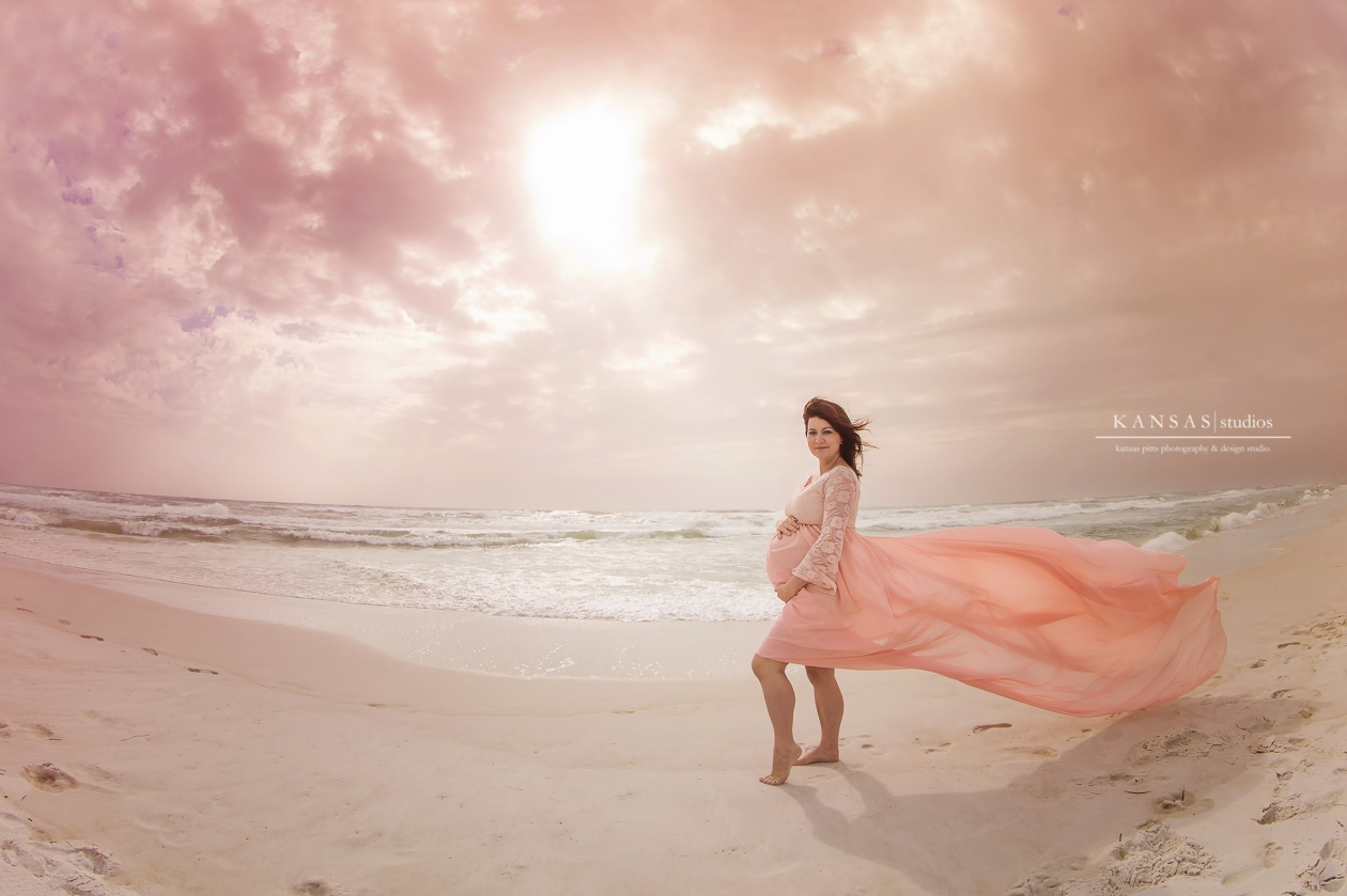 Dramatic Beach Maternity