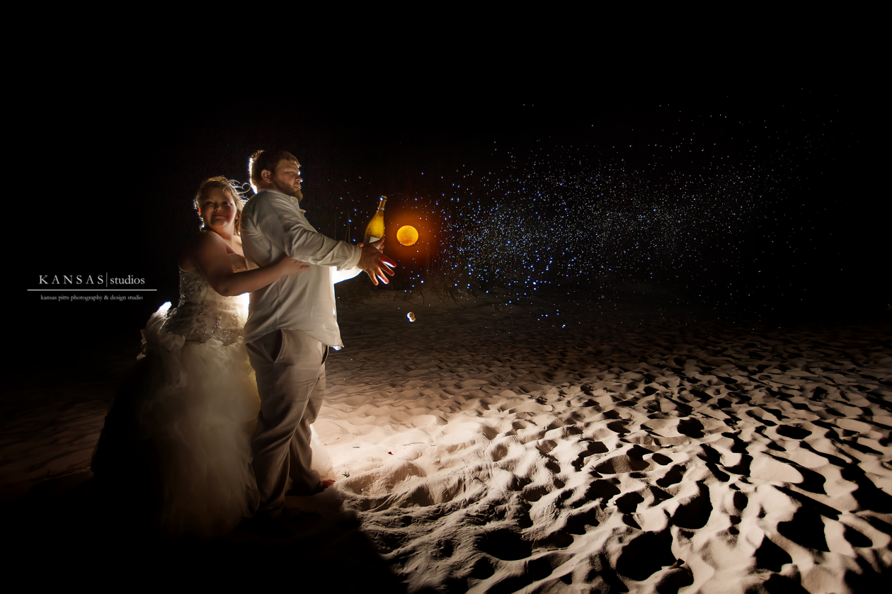Popping Champagne Wedding Picture