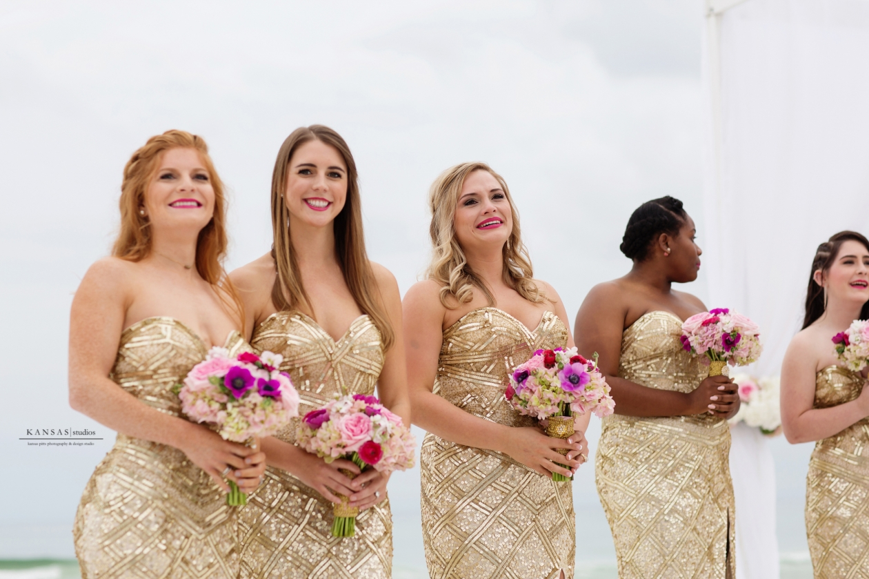 Gulf Place Wedding Gold Sequin Bridesmaid Dress