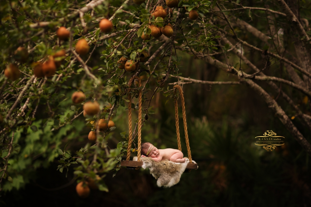 newborn in a fruit tree swing composite