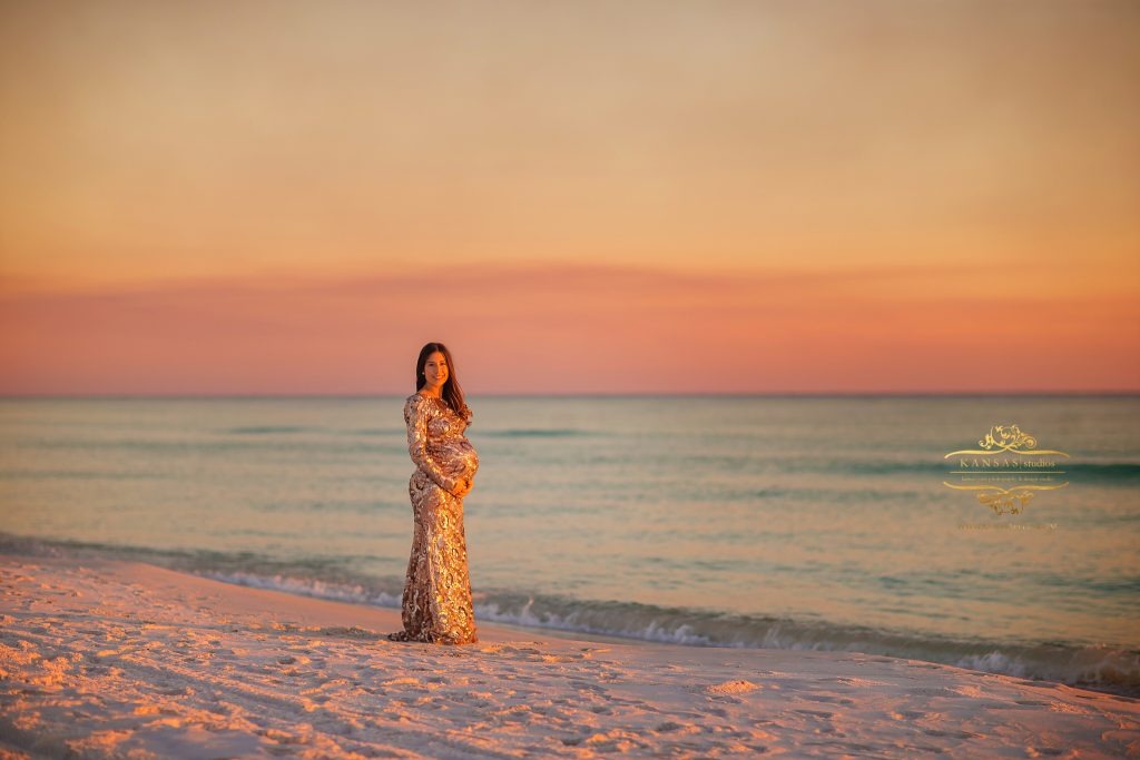 Badgley Mischka beach maternity