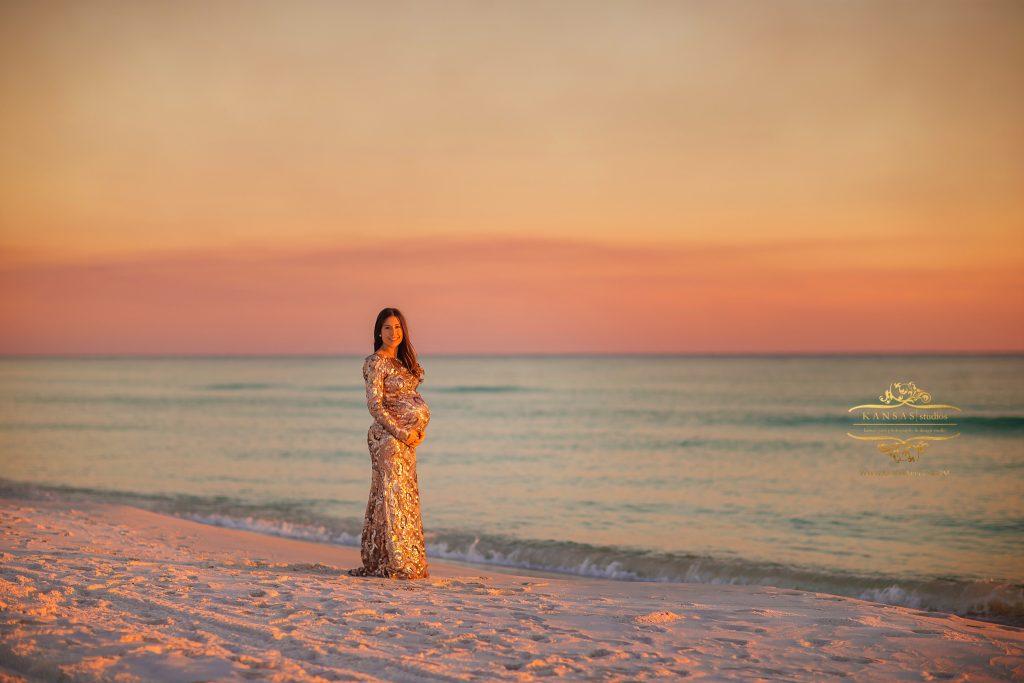 Badgley Mischka beach maternity