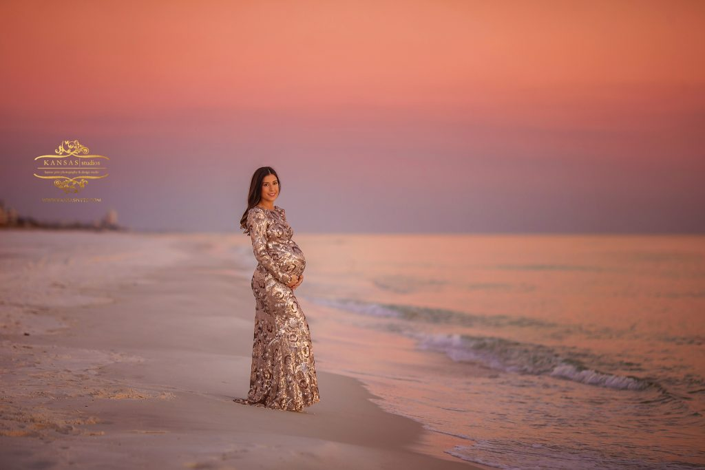 maternity picture at grayton beach at sunset in sequin dress