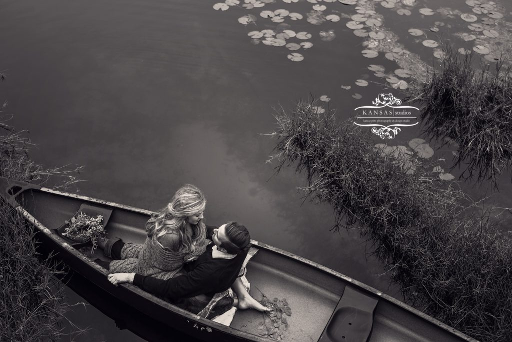 black and white dramatic engagement session on the lake