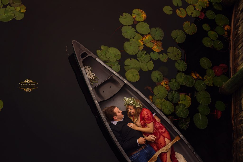 canoe styled engagement session