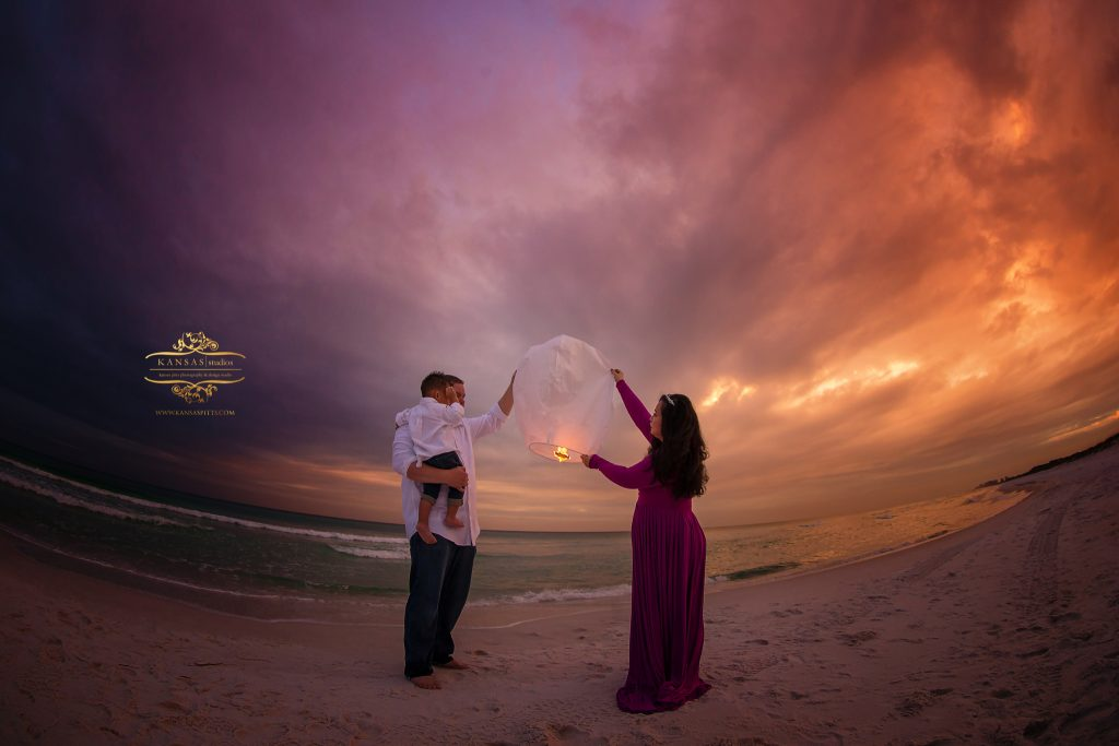 Chinese paper lanterns on the beach